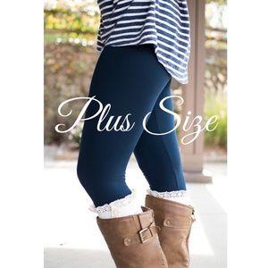 Navy High Waist Fleece Lined Leggings   Plus